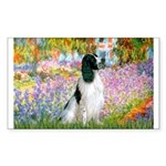 Monet's garden & Springer Sticker (Rectangle)