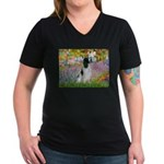 Monet's garden & Springer Women's V-Neck Dark T-Sh