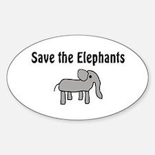 Save the Elephants Oval Decal