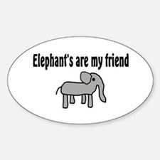 Elephants are my Friends Oval Decal