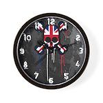 British Punk Skull Wall Clock
