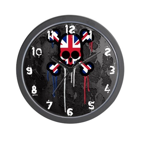 British Punk Skull Wall Clock