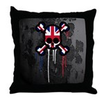 British Punk Skull Throw Pillow