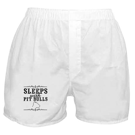 Sleeps with Pit Bulls Boxer Shorts