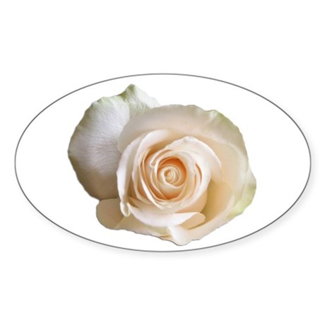 White Rose Oval Sticker