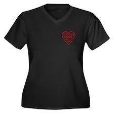 Red Heart Words Women's Plus Size V-Neck Dark T-Sh