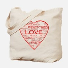 Red Heart Words Tote Bag