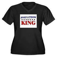 JOHNATHON for king Women's Plus Size V-Neck Dark T