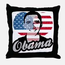 Barack Obama American Heart Throw Pillow
