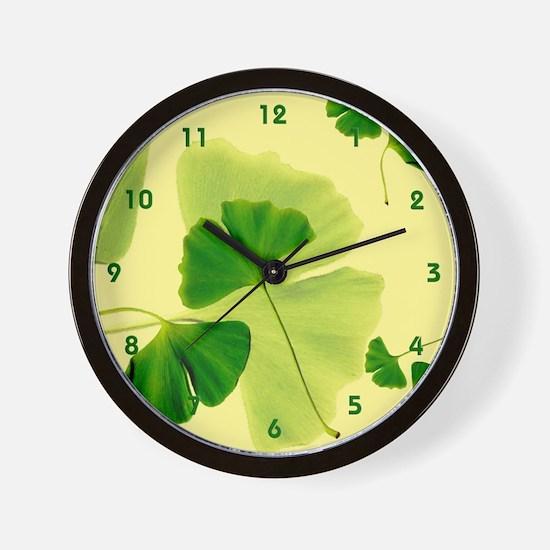 Ginkgo Biloba Leaves Wall Clock