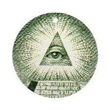 Pyramid Eye U.S. dollar logo Keepsake (Round)