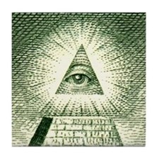 Pyramid Eye U.S. dollar logo Tile Coaster