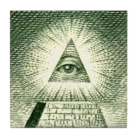 Pyramid Eye U.S. dollar logo Tile Coaster