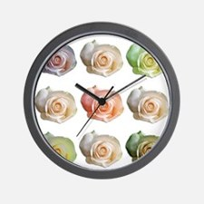 Nine Colored Roses Wall Clock