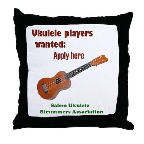 Ukulele players wanted - appl Throw Pillow