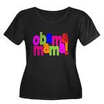 Obama Mama Women's Plus Size Scoop Neck Dark T-Shi
