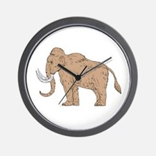 Woolly Mammoth Side Drawing Wall Clock