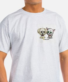 Puppy and Kitty Ash Grey T-Shirt