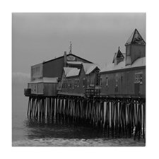 Snow Covered Maine State Pier Tile Coaster
