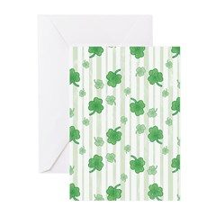 St Patrick's Shamrock Pattern Greeting Cards (Pk o