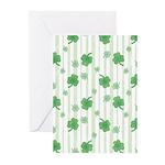 St Patrick's Shamrock Pattern Greeting Cards (Pk o
