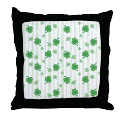 St Patrick's Shamrock Pattern Throw Pillow