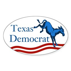 Texas Democrat Oval Bumper Decal