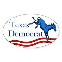 Texas Democrat Oval Bumper Decal