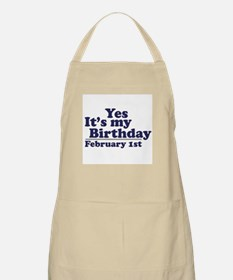February 1st Birthday BBQ Apron