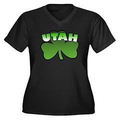 Utah Shamrock Women's Plus Size V-Neck Dark T-Shir
