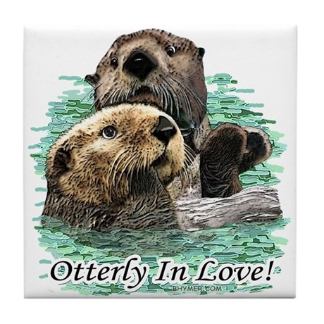 Otterly In Love Tile Coaster