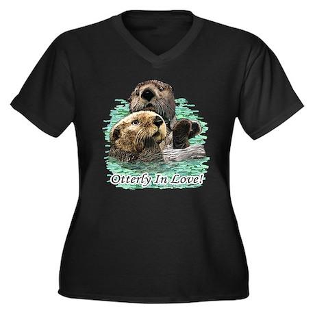 Otterly In Love Women's Plus Size V-Neck Dark T-Sh