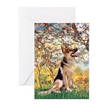 Spring & German Shepherd Greeting Cards (Pk of 10)