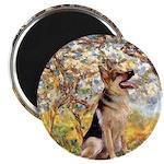 Spring & German Shepherd Magnet