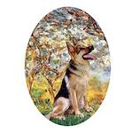 Spring & German Shepherd Ornament (Oval)