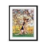 Spring & German Shepherd Framed Panel Print