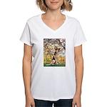 Spring & German Shepherd Women's V-Neck T-Shirt
