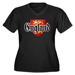 England Coat of Arms Women's Plus Size V-Neck Dark