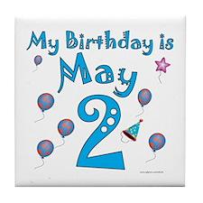 May 2nd Birthday Tile Coaster