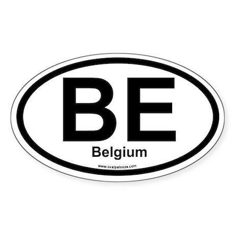 BE Belgium Oval Sticker