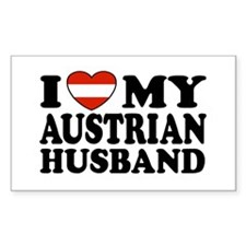 I Love My Austrian Husband Rectangle Decal