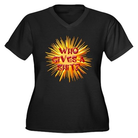 Who gives a shit? Women's Plus Size V-Neck Dark T-
