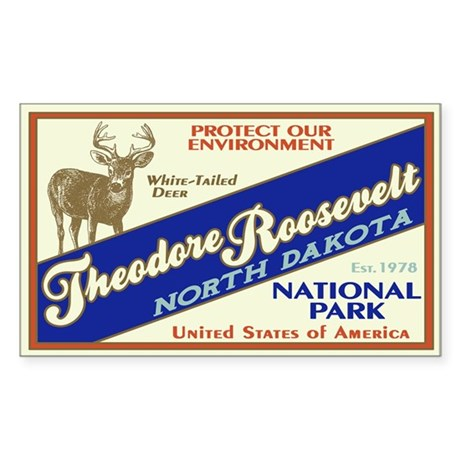 Theodore Roosevelt (Deer) Rectangle Sticker
