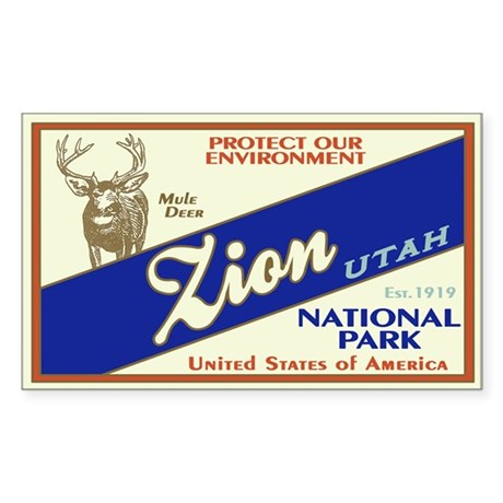 Zion (Mule Deer) Rectangle Sticker