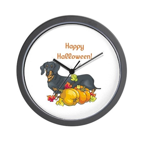 Happy Halloween Dachshund Wall Clock