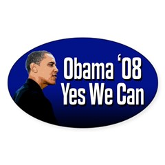 Blue Obama '08 Yes We Can Oval Bumpersticker