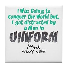 Army Wife Distracted Tile Coaster