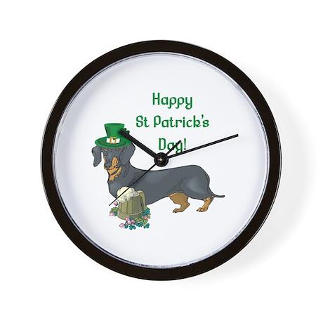 Happy St Patricks Day Doxie Wall Clock