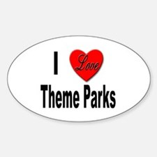 I Love Theme Parks Oval Decal
