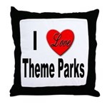 I Love Theme Parks Throw Pillow
